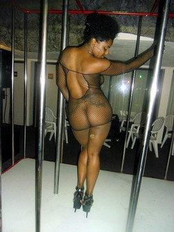 Black girl stripper in fishnet clothes