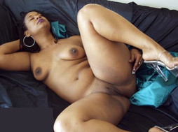 Rough black whore exposes her huge..