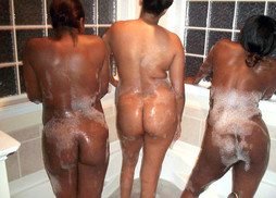 Two black girlfriend naked romp in the..