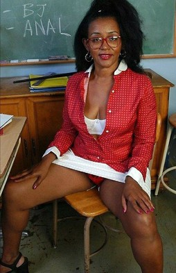 The old black teacher in red panty, an..